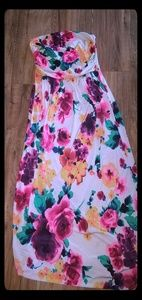 Floral Strapless Maxi Dress with Pockets